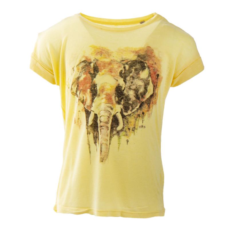 Tee shirt jaune imprimé éléphant fille BEST MOUNTAIN marque pas cher prix dégriffés destockage