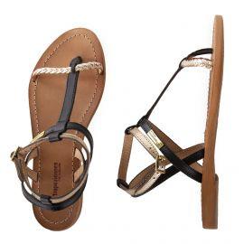 Sandales noires et dorées bride tressée HILATRES femme LES TROPEZIENNES marque pas cher prix dégriffés destockage