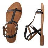 Sandales en cuir noir HILAN femme LES TROPEZIENNES marque pas cher prix dégriffés destockage