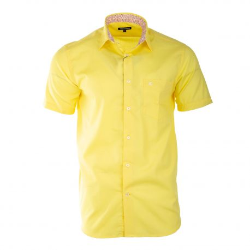 Chemise jaune manches courtes homme TED LAPIDUS marque pas cher prix dégriffés destockage