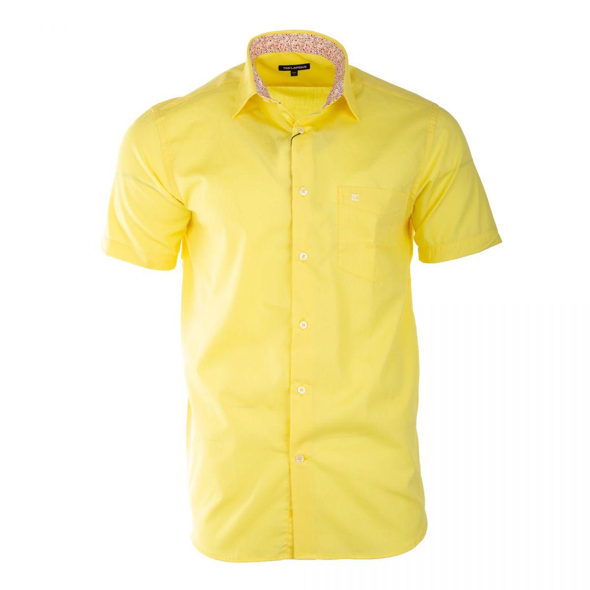 c62a9e48145 Chemise jaune manches courtes homme TED LAPIDUS marque pas cher prix  dégriffés destockage ...