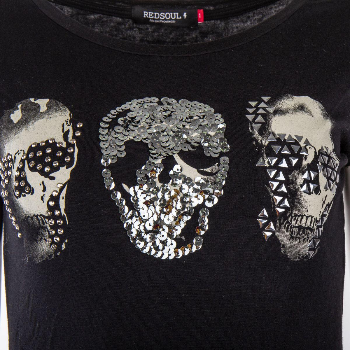 620048102048 ... Tee shirt sequins motif tête de mort femme RED SOUL marque pas cher  prix dégriffés destockage ...