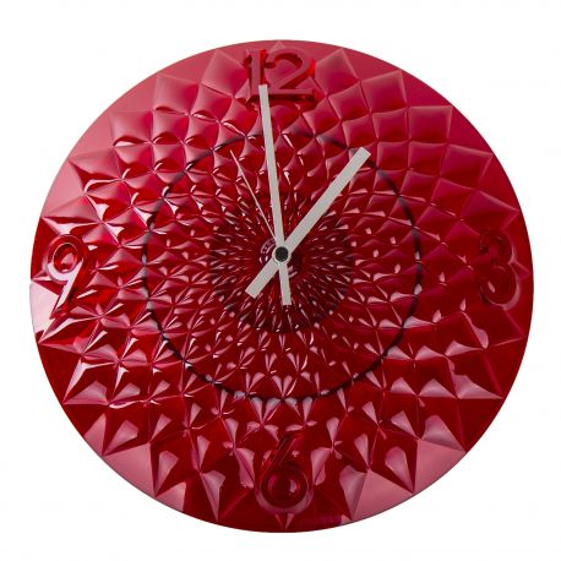 Pendule murale rouge en plexiglas GUZZINI marque pas cher prix dégriffés destockage
