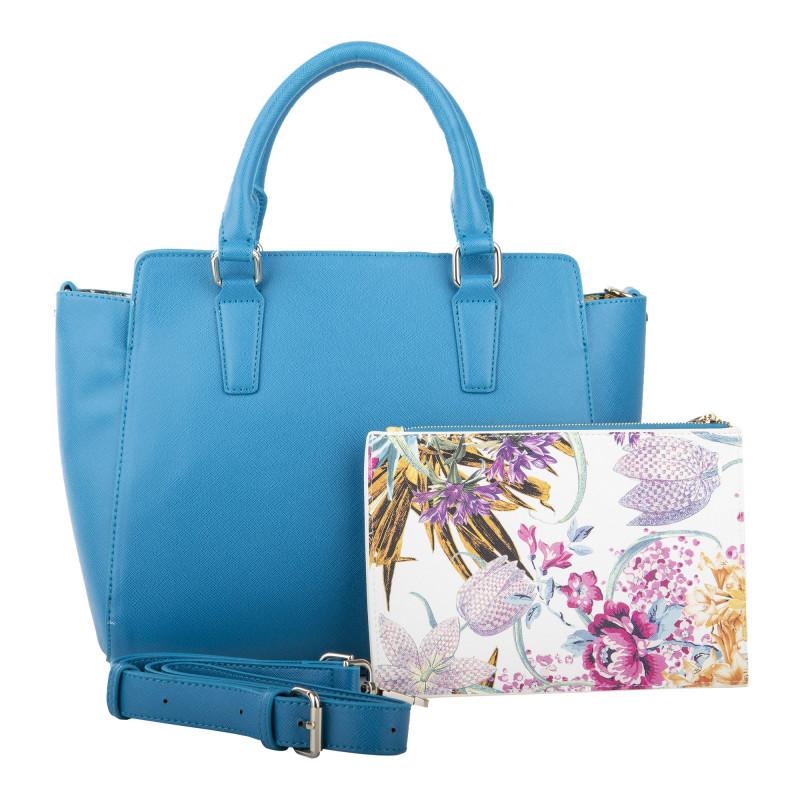 Sac à main bleu + petite pochette à fleurs femme CHRISTIAN LACROIX marque pas cher prix dégriffés destockage