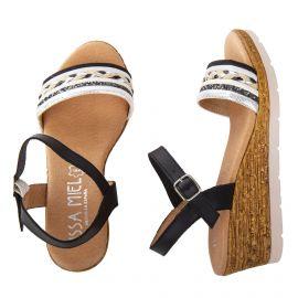 Sandales compensées noires femme ISSA MIEL marque pas cher prix dégriffés destockage
