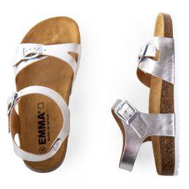 Sandales en cuir argentée fille EMMA