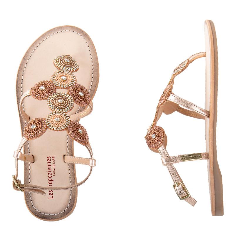 Sandales à entre-doigts en cuir et perles OCHANA femme LES TROPEZIENNES marque pas cher prix dégriffés destockage
