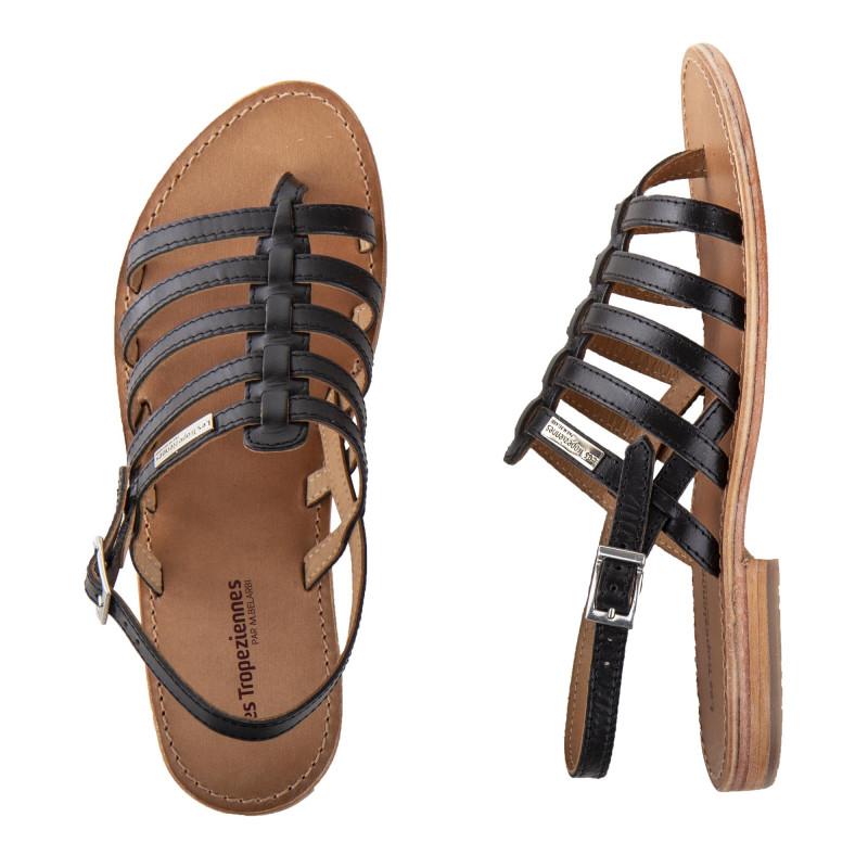 Sandales en cuir noir HERISSON femme LES TROPEZIENNES marque pas cher prix dégriffés destockage