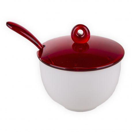 Sucrier en porcelaine blanc et rouge GUZZINI marque pas cher prix dégriffés destockage