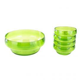 Saladier et 4 petites coupelles en plexiglas vert GUZZINI
