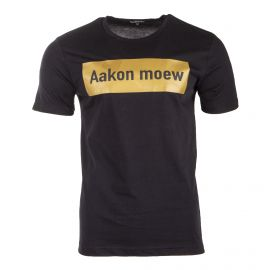 Tee shirt noir à slogan doré AAKON MOEW