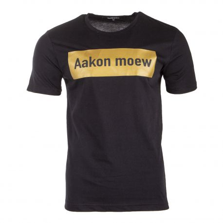 Tee shirt noir à slogan doré AAKON MOEW marque pas cher prix dégriffés destockage