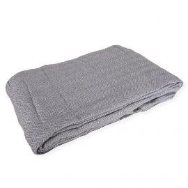 Dessus de lit gris à chevrons 230 x 260 cm NICOLETTA marque pas cher prix dégriffés destockage