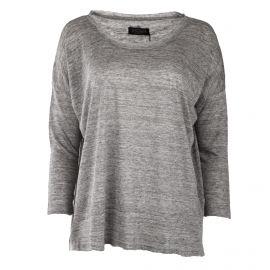 Tee shirt manches 3/4 en lin gris femme ELEVEN PARIS