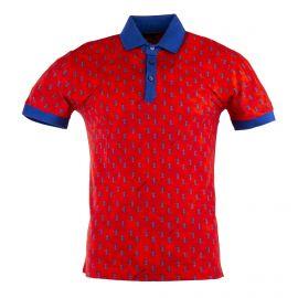Polo rouge à motifs bleu homme TRUSSARDI