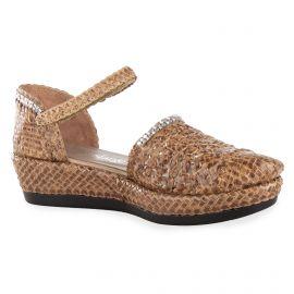Sandales fermées en cuir tressé marron femme YVES DESFARGE marque pas cher prix dégriffés destockage