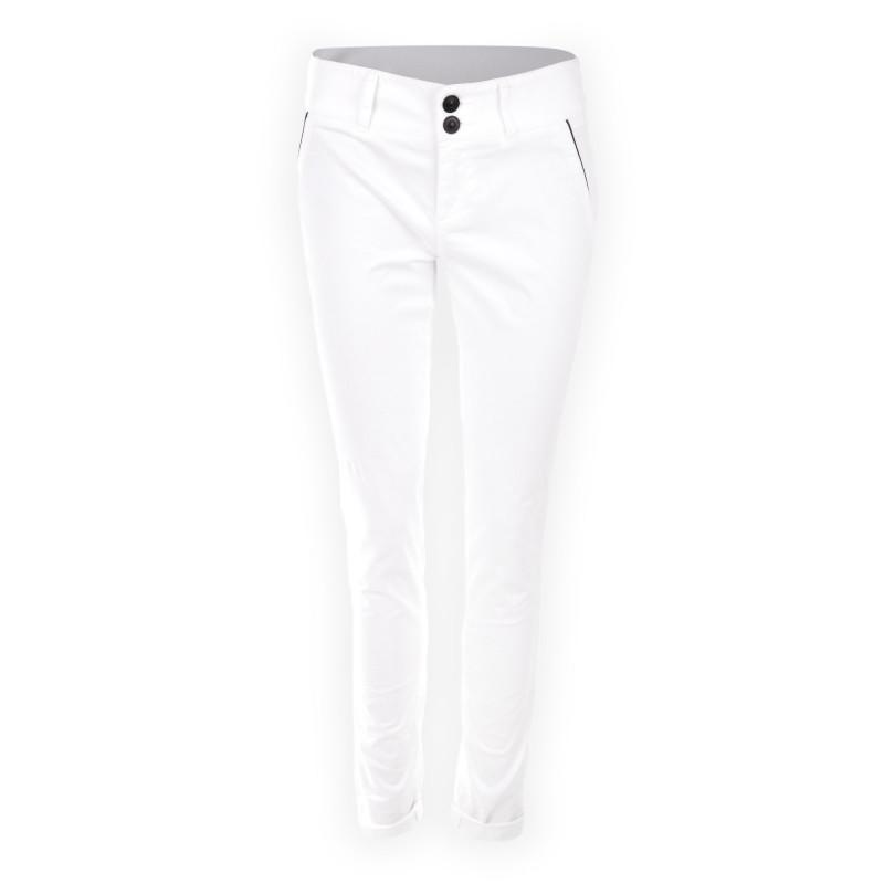 Pantalon fluide coupe chino en coton blanc femme ON YOU marque pas cher prix dégriffés destockage