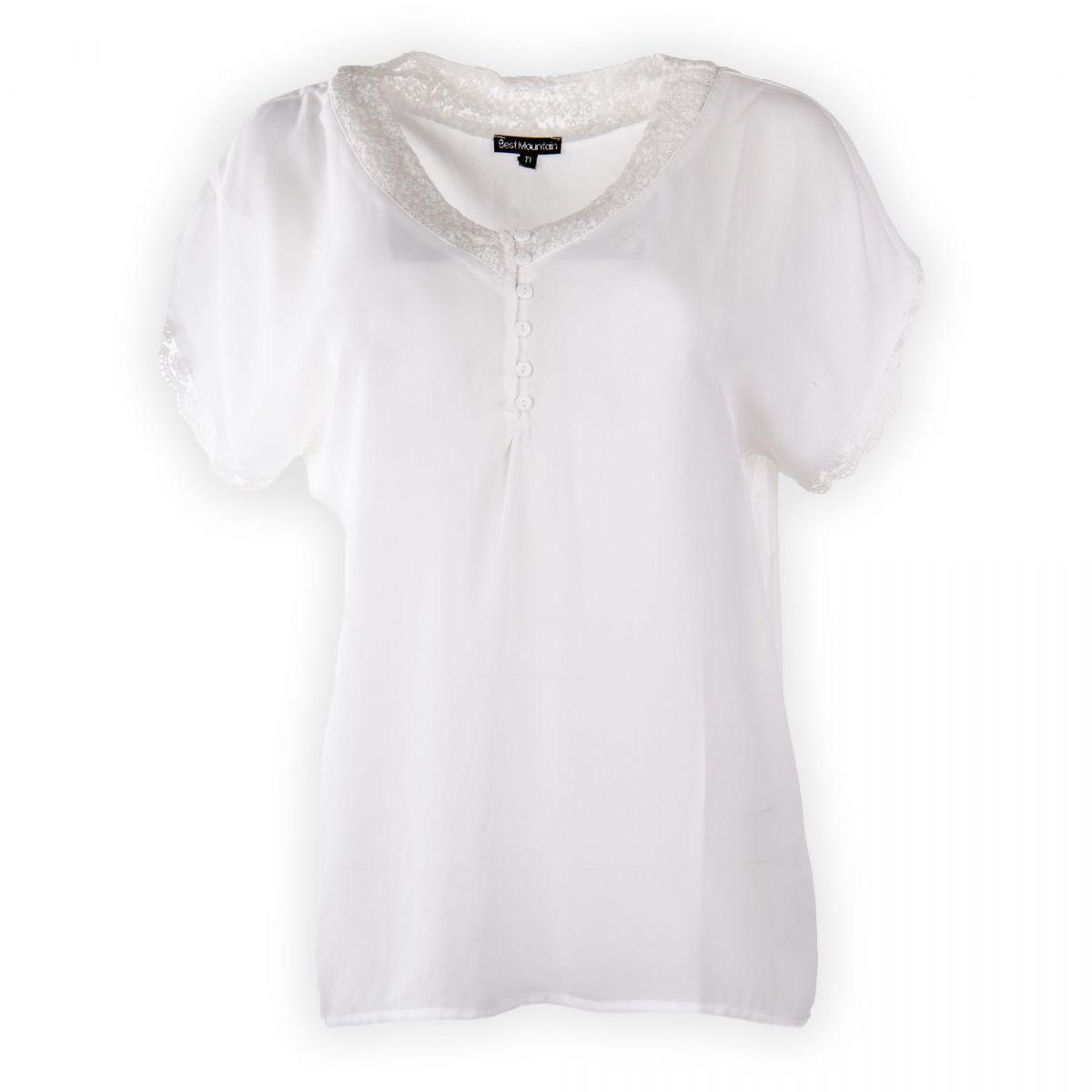 Haut blanc détail dentelle femme BEST MOUNTAIN marque pas cher prix  dégriffés destockage ... 4861a96e622