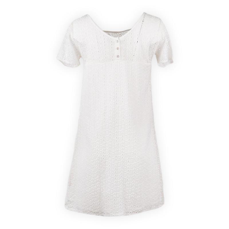 Robe blanche brodée femme DDP marque pas cher prix dégriffés destockage