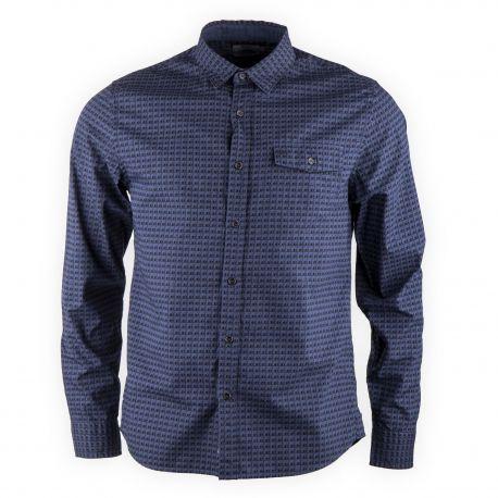 Chemise bleu foncé imprimée homme CALVIN KLEIN marque pas cher prix dégriffés destockage