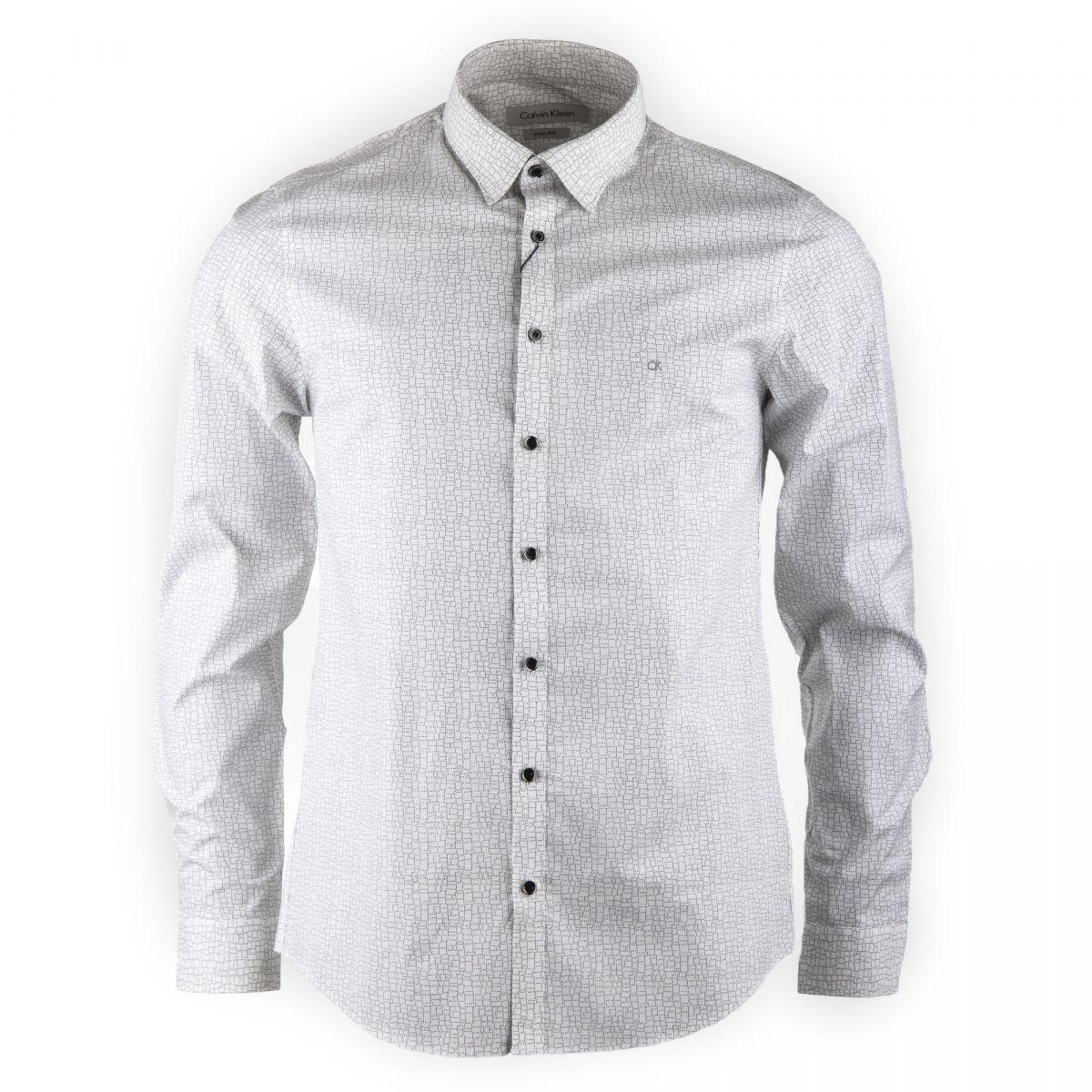 chemise blanche imprim e manches longues homme calvin klein prix. Black Bedroom Furniture Sets. Home Design Ideas