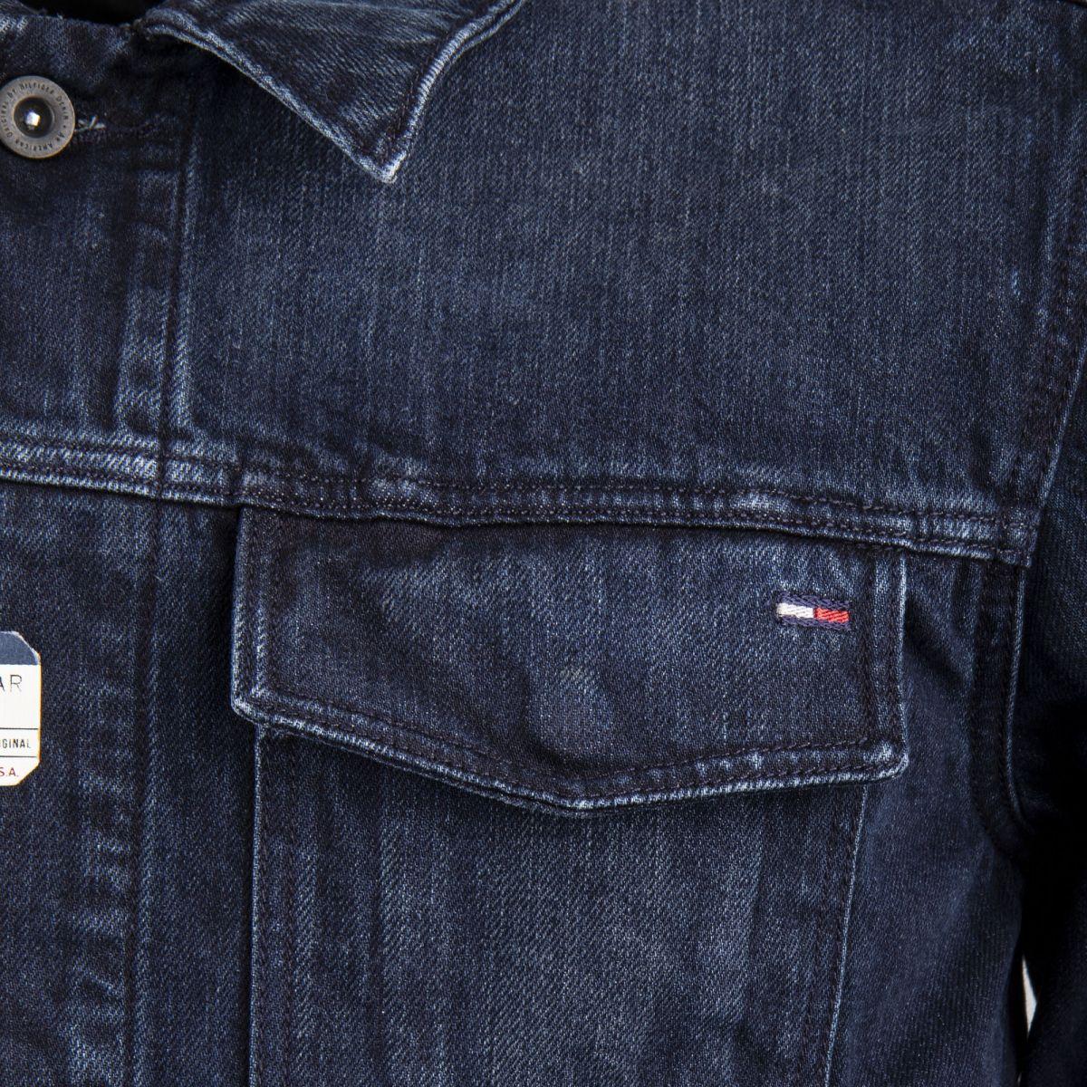 26cfa1b66bc ... Blouson en jean bleu foncé homme Tommy Hilfiger marque pas cher prix  dégriffés destockage ...