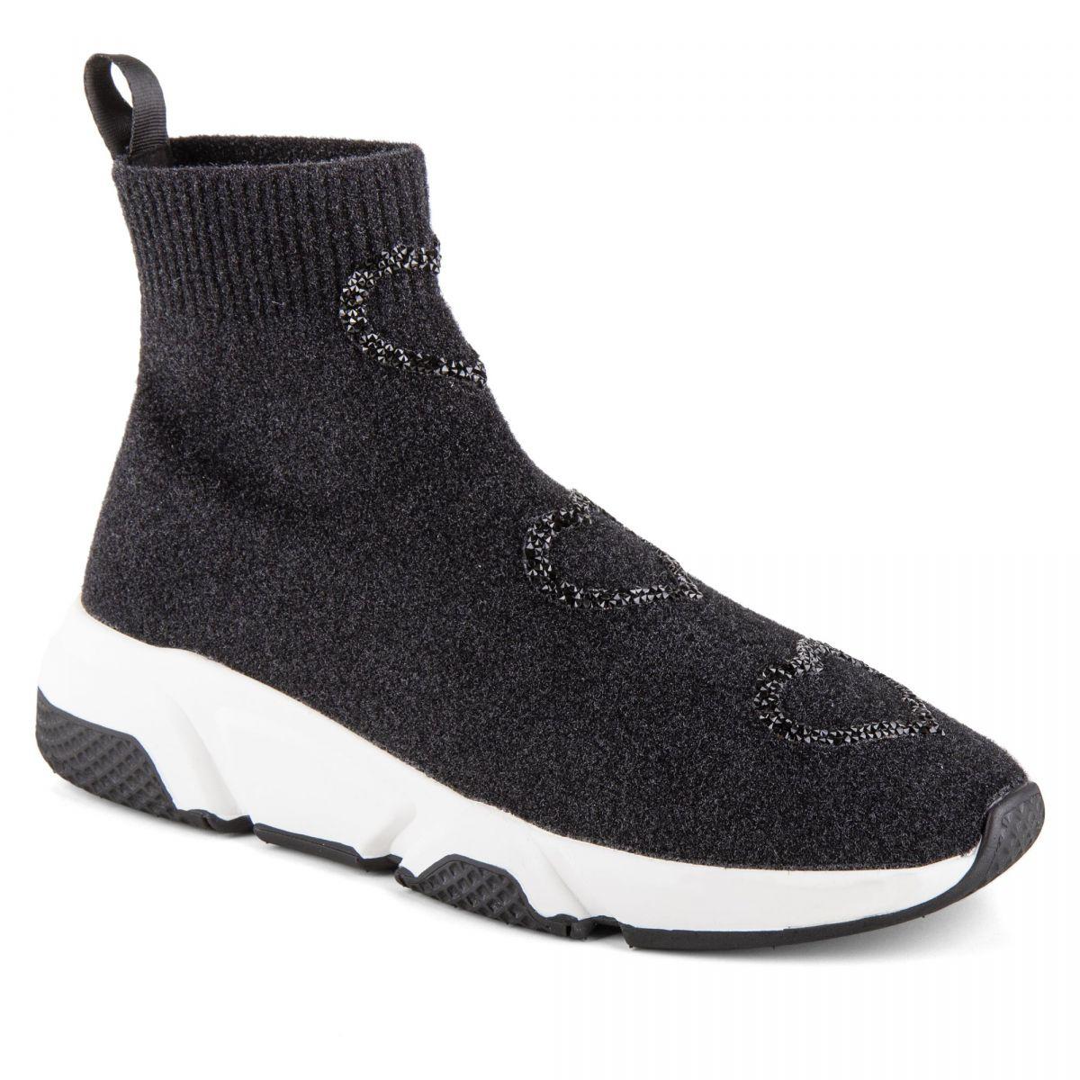 Baskets chaussettes montantes noires femme BETTY Studio Italia à prix