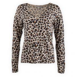 Pull col V imprimé léopard femme Best Mountain marque pas cher prix dégriffés destockage