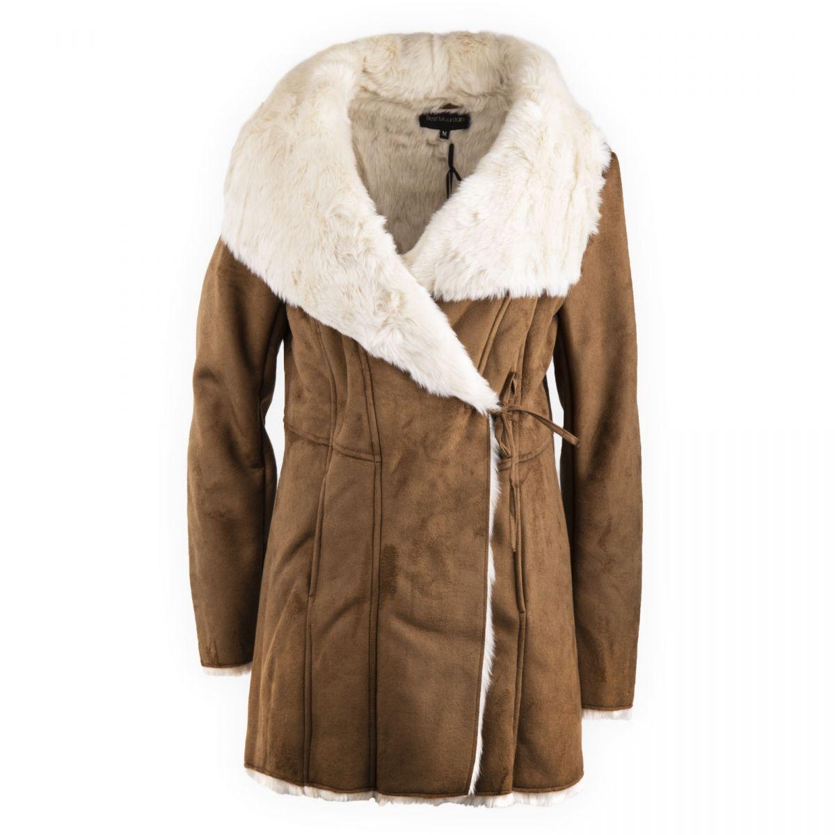 25152d7c6828 Manteau camel en suedine fausse fourrure femme Best Mountain marque pas  cher prix dégriffés destockage ...