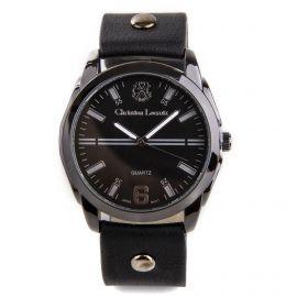 Montre ronde noire bracelet cuir Homme CHRISTIAN LACROIX