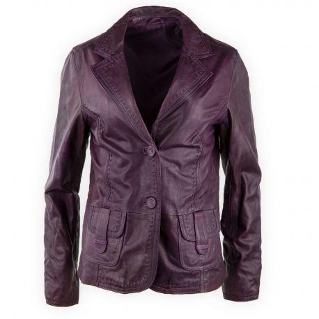 hot-vente plus récent dessin de mode les dernières nouveautés Veste en cuir violet femme OAKWOOD