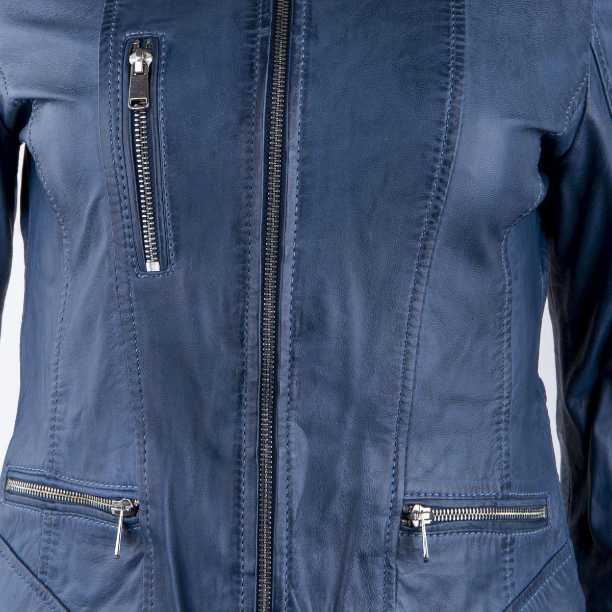 veste en cuir bleu femme oakwood prix d griff. Black Bedroom Furniture Sets. Home Design Ideas