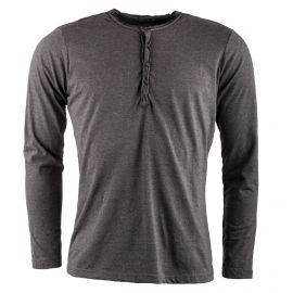 Tee shirt gris col tunisien TLW2707H Homme BEST MOUNTAIN