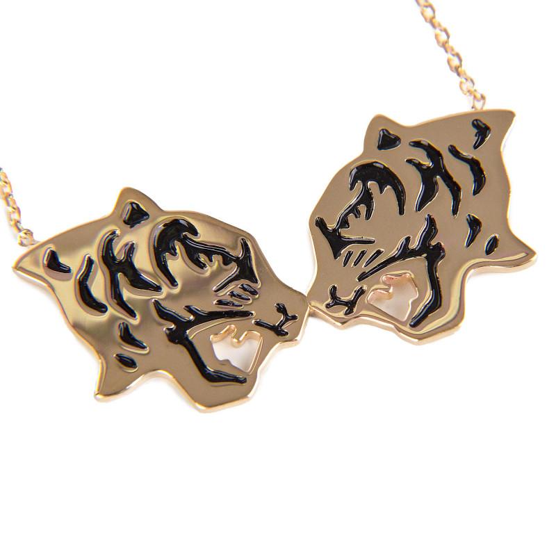 Collier chaîne pendentif Tassel Tiger plaqué or Femme KENZO marque pas cher prix dégriffés destockage
