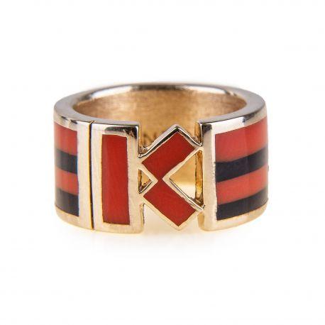 Bague anneau K plaquée or femme KENZO marque pas cher prix dégriffés destockage