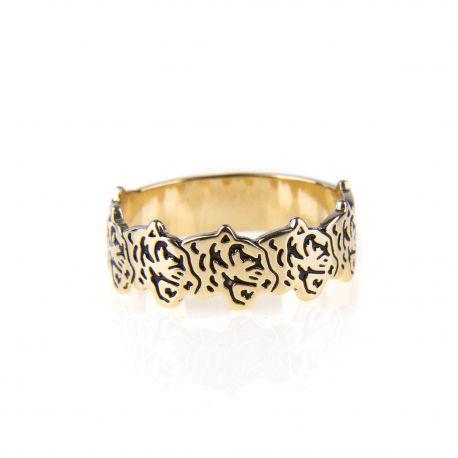 Bague anneau tête de tigre plaquée or femme KENZO marque pas cher prix dégriffés destockage