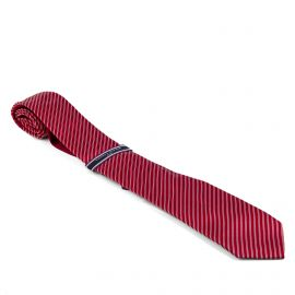Cravate rouge rayée Homme TOMMY HILFIGER marque pas cher prix dégriffés destockage