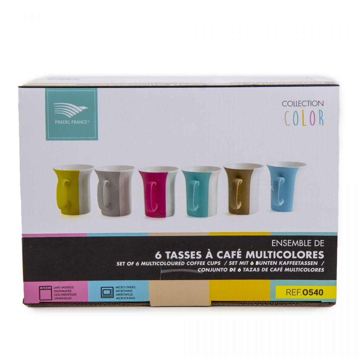 Multicolore 6 Tasses Café Service Porcelaine À Prix Pradel rdBexCo