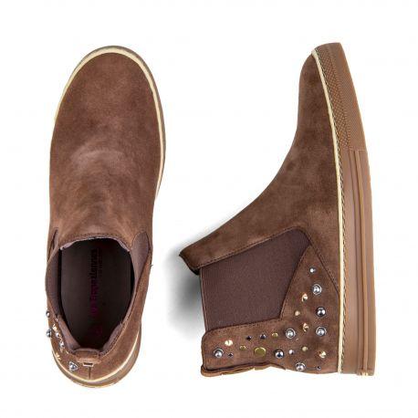 Boots cloutées cuir retourné Carole Femme LES TROPEZIENNES marque pas cher prix dégriffés destockage