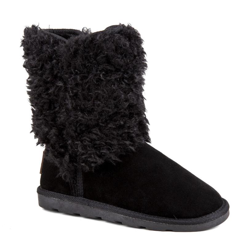 Boots montantes fourrées noires Chazel Femme LES TROPEZIENNES marque pas cher prix dégriffés destockage
