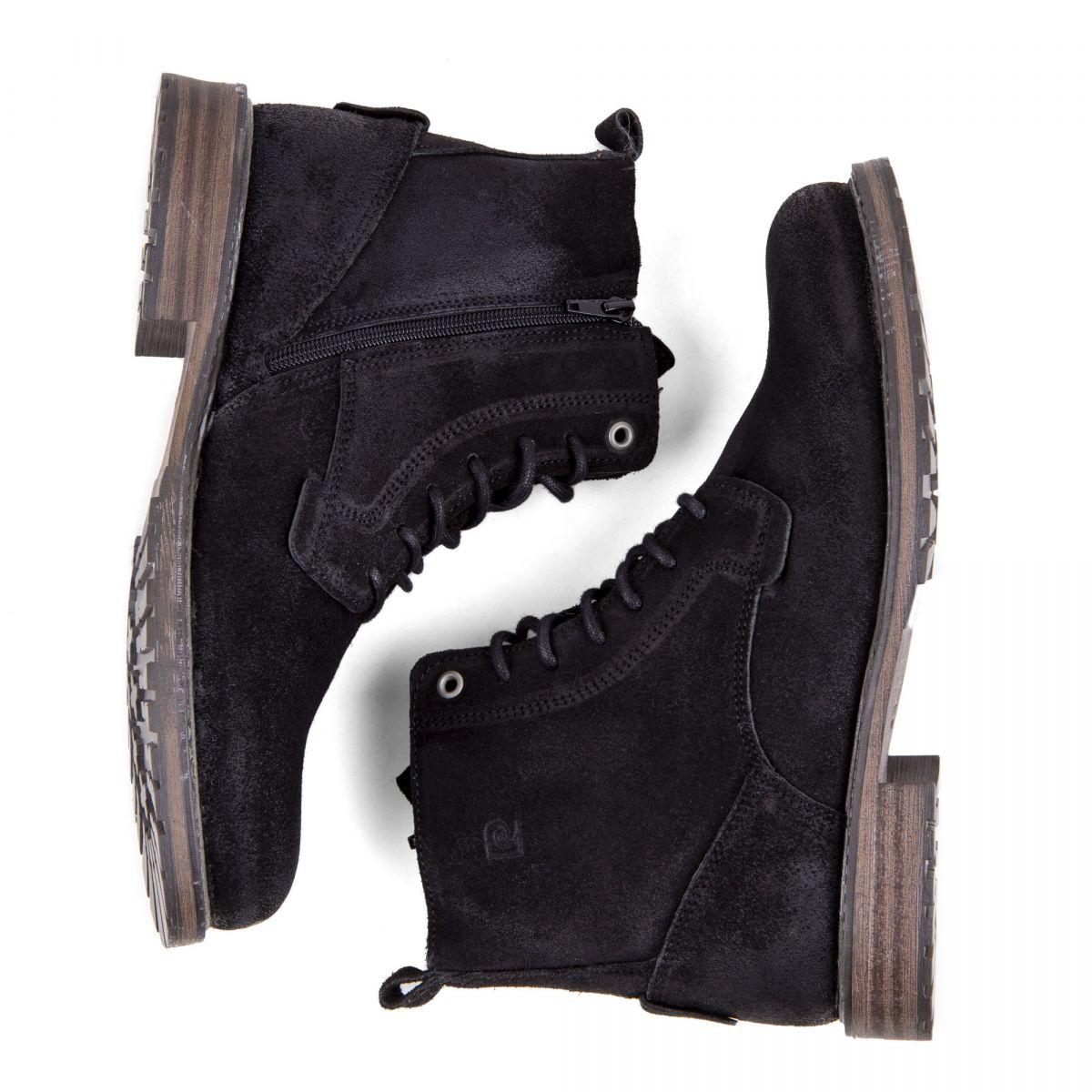 bf2c12de11f ... Chaussures Boots montantes noires cuir retourné Homme PIERRE CARDIN  marque pas cher prix dégriffés destockage ...