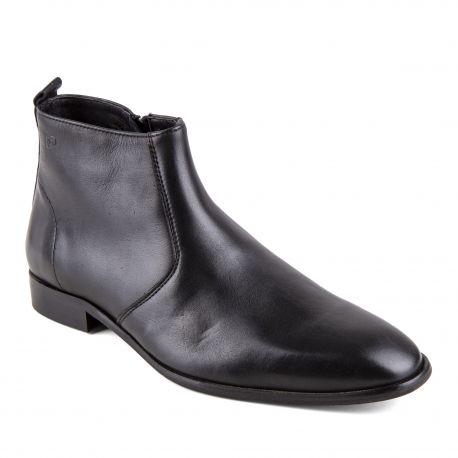 225e76f0da1 Chaussures Bottines noires cuir Mars Homme PIERRE CARDIN marque pas cher prix  dégriffés destockage