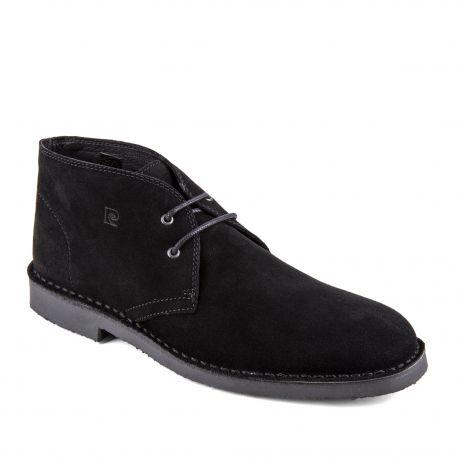 a00301b7ab3 Chaussures derbies montantes noires cuir retourné Galo Homme PIERRE CARDIN  marque pas cher prix dégriffés destockage
