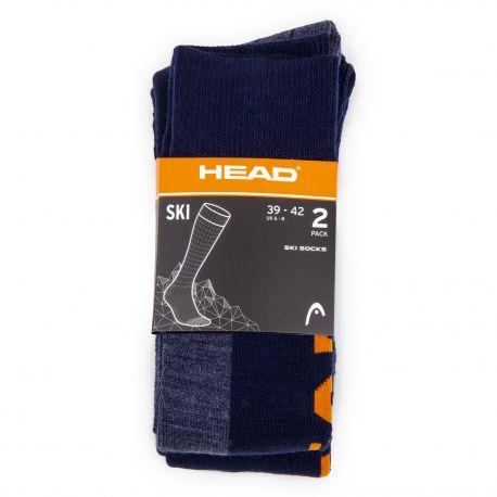 Lot de 2 paires de chaussettes de ski mixte HEAD marque pas cher prix dégriffés destockage