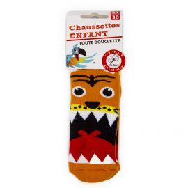Chaussettes Bouclette coton imprimé tigre Enfant AZERTEX marque pas cher prix dégriffés destockage