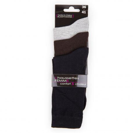 Lot de 3 paires de chaussettes acrylique élasthanne Femme AZERTEX marque pas cher prix dégriffés destockage