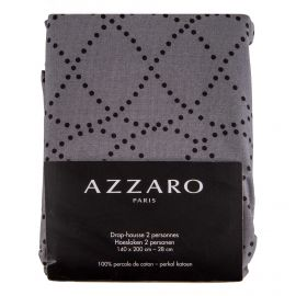Drap housse gris 140x200cm 100% percale de coton AZZARO