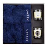 Coffret cadeau 2 serviettes + 2 bougies parfumées AZZARO marque pas cher prix dégriffés destockage