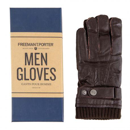 Gants marrons en cuir Homme Arillo Leather FREEMAN T.PORTER marque pas cher prix dégriffés destockage