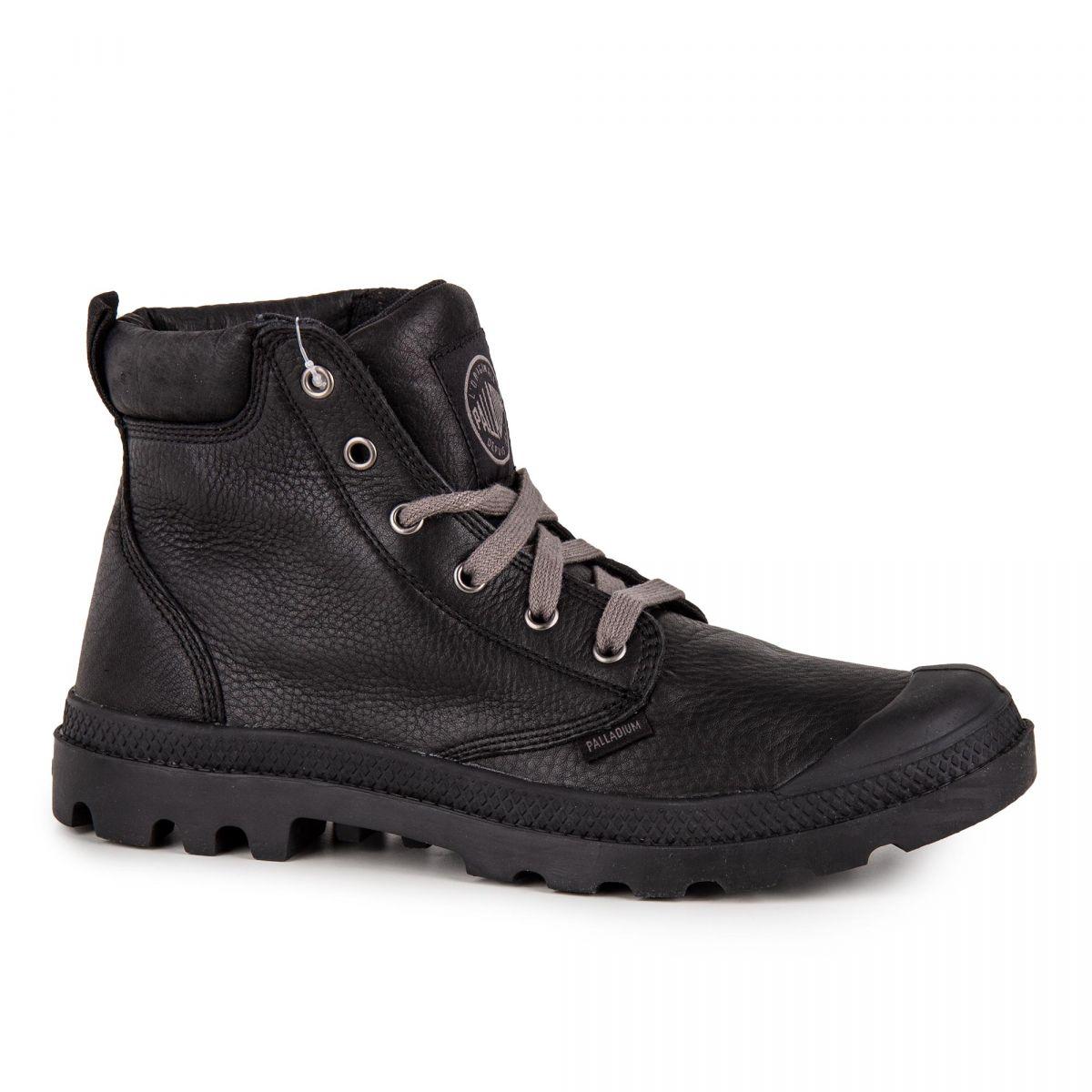 ec1e836d20d Bottines noires en cuir homme Pampa Hi Cuff Lea PALLADIUM à prix